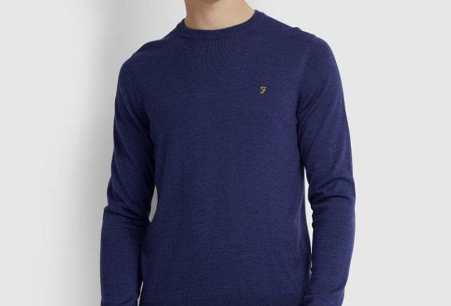 Farah - Mullen Merino Wool Sweater - Blue Peony Marl