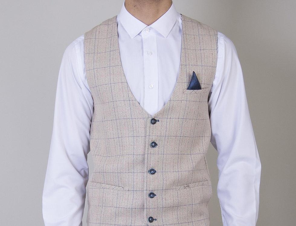 Marc Darcy - Harding - Cream Tweed Check Print Single Breasted Waistcoat