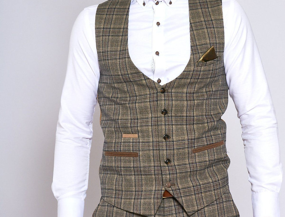 Marc Darcy - ENZO - Tan Check Tweed Single Breasted Waistcoat