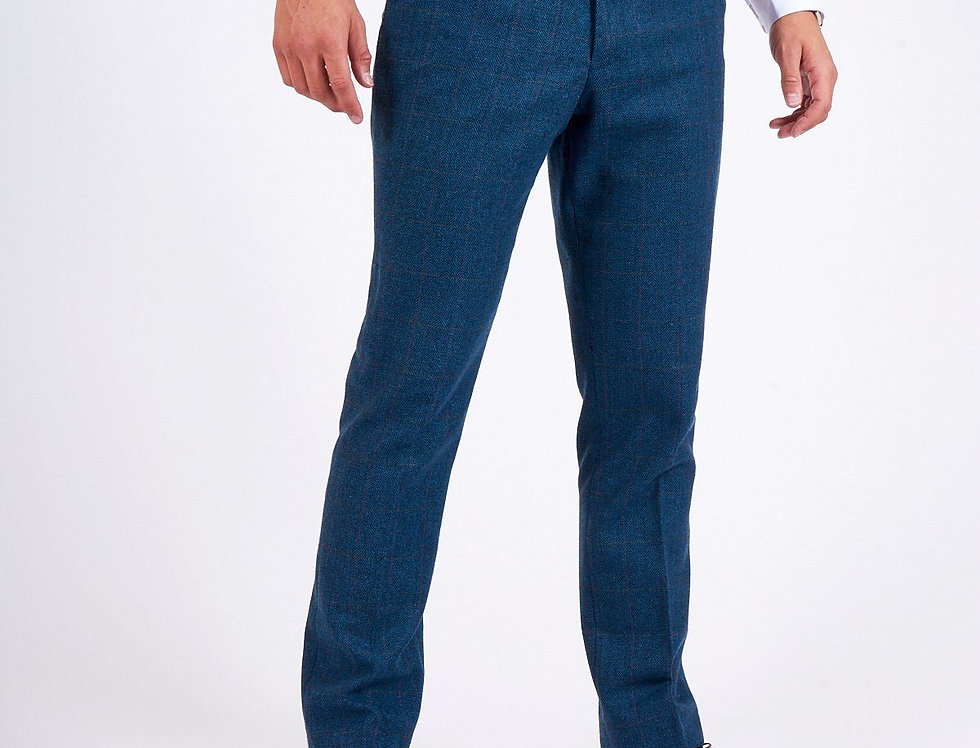 Marc Darcy - DION - Blue Tweed Check Trouser