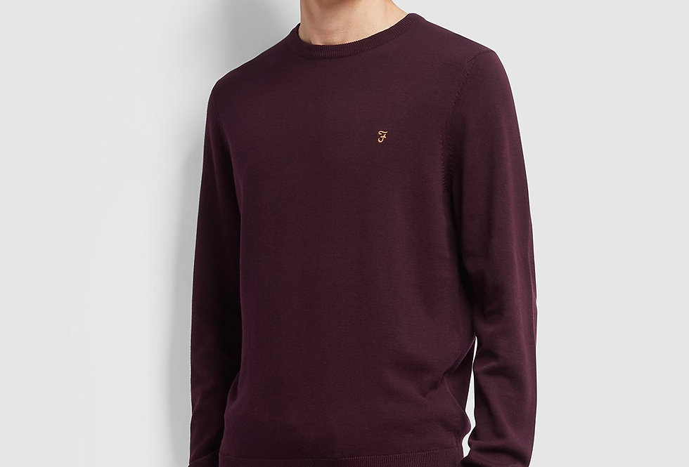 Farah - Mullen Merino Wool Sweater - Farah Burgundy