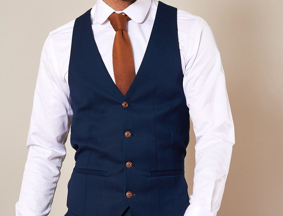 Marc Darcy - MAX - Royal Blue Single Breasted Waistcoat