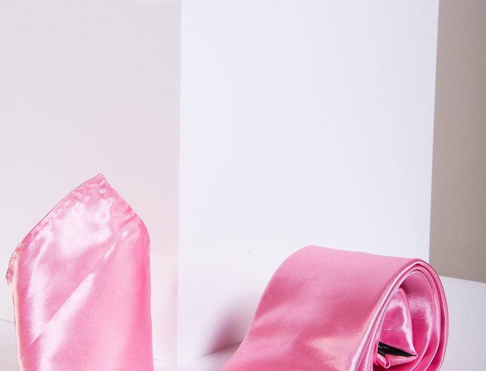 Marc Darcy - Pink Satin Tie, Cufflink & Pocket Square Set