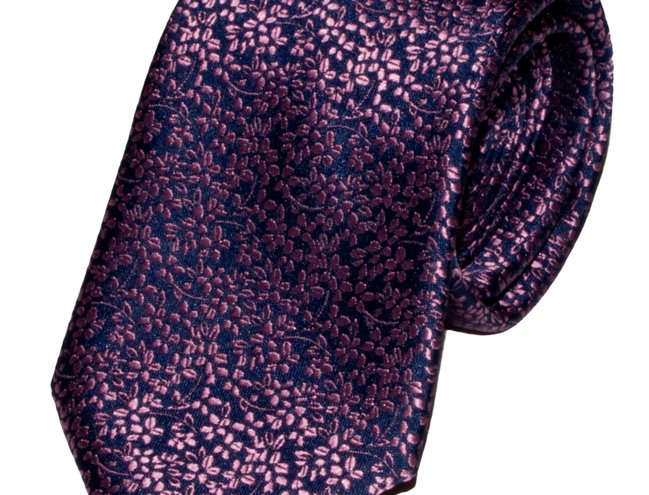 Lloyd Attree & Smith - Floral Poly Standard Tie - Pink