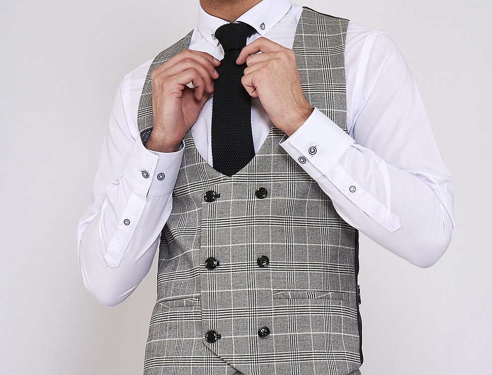 Marc Darcy - ROSS - Grey Check Double Breasted Waistcoat