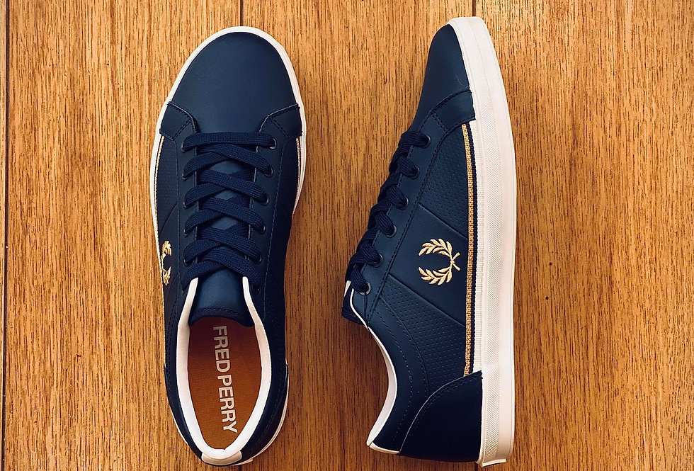 Fred Perry - Perforated Leather Trainers - Navy