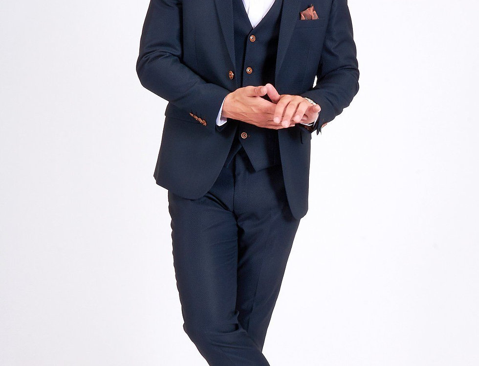 Marc Darcy - MAX - Navy Three Piece Suit with Contrast Buttons