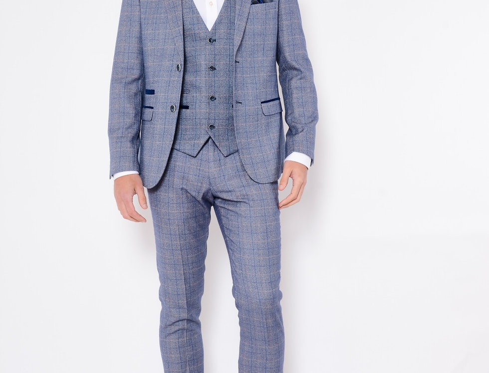 Marc Darcy - Hilton - Blue Check Tweed Three Piece Suit
