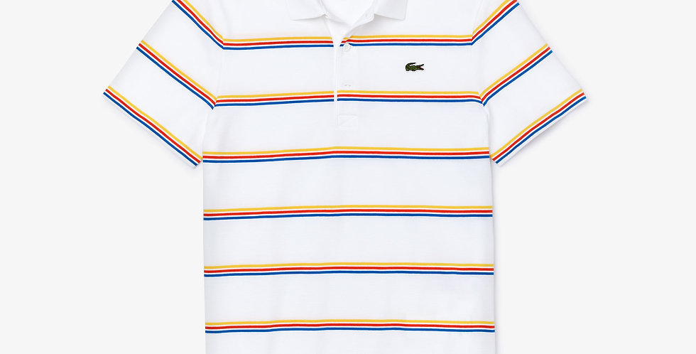 Lacoste - Striped Lightweight Cotton Polo Shirt - White