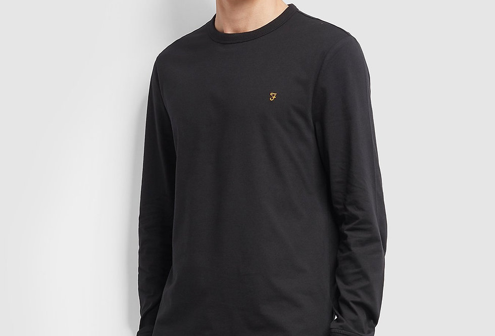 Farah - Worthington Slim Fit Long Sleeve T-Shirt - Deep Black