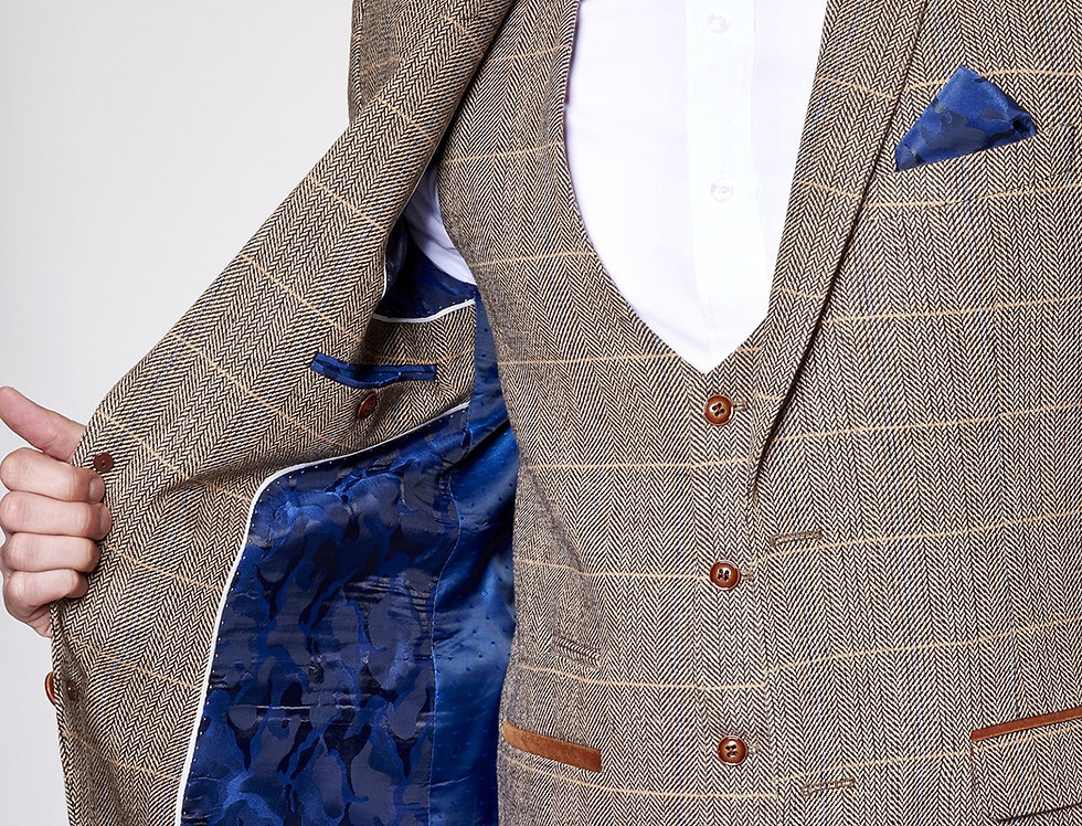 Marc Darcy - Blake - Tan Tonal Check Tweed Blazer With Velvet Contrast