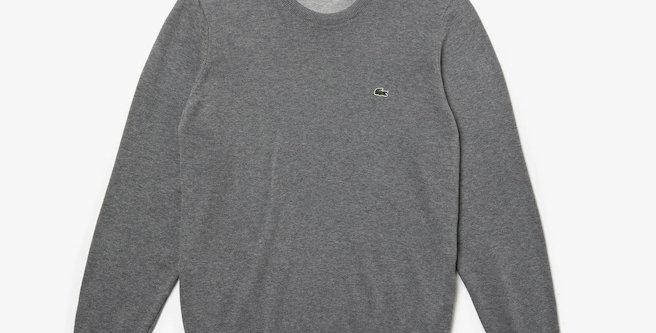 Lacoste - Crew Neck Caviar Piqué Accent Cotton Jersey Sweater - Grey