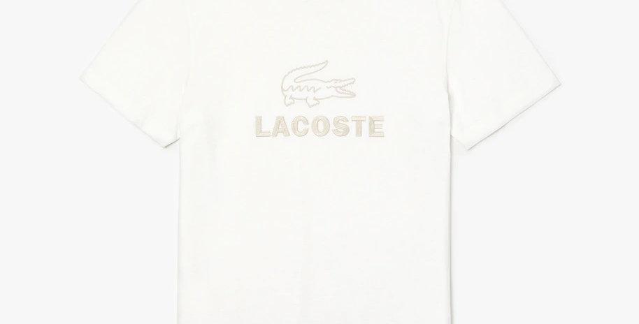 Lacoste Crew Neck Tone-On-Tone Embroidery Cotton T-shirt - White