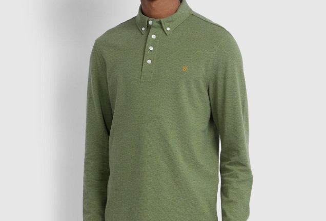 Farah - Ricky Long Sleeve Polo Shirt - Winter Balsam Marl