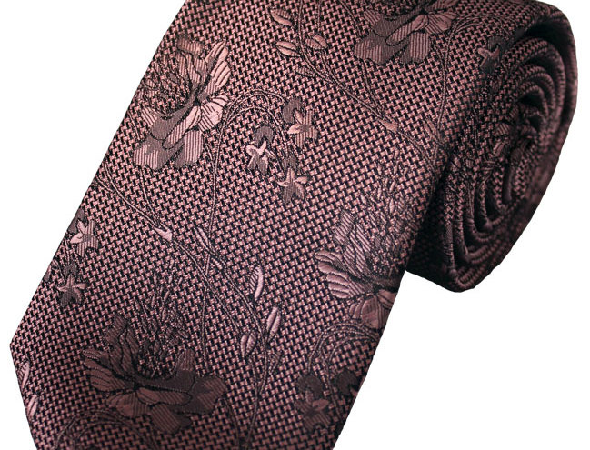 Lloyd Attree & Smith - Floral Lace Poly Tie - Pink