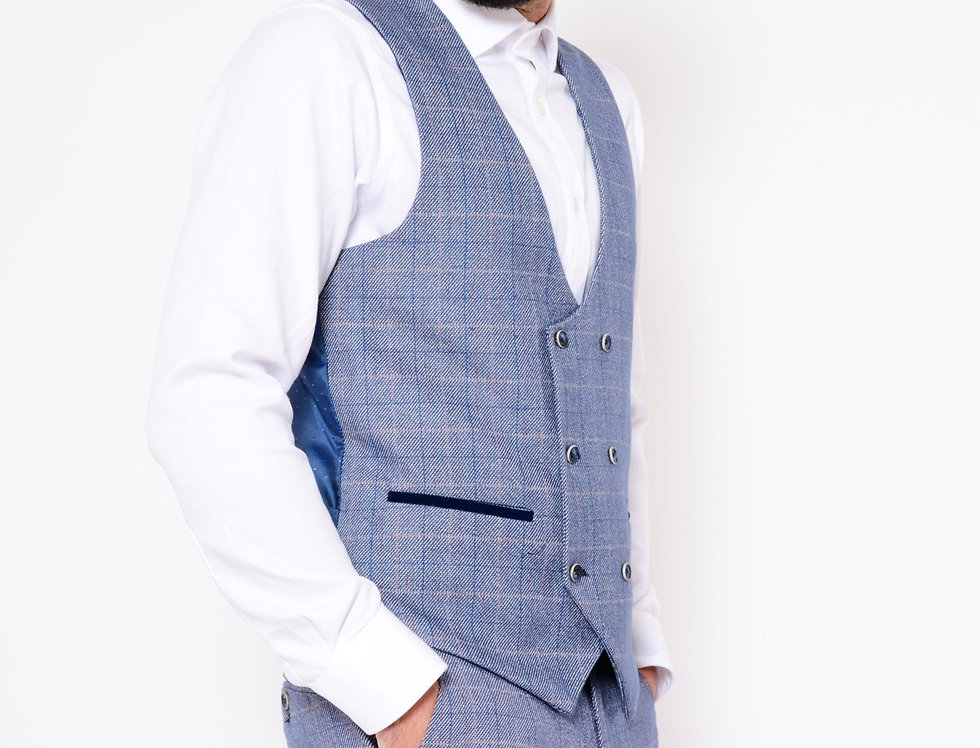 Marc Darcy - Hilton/Harry - Blue Check Print Tweed Double Breasted Waistcoat