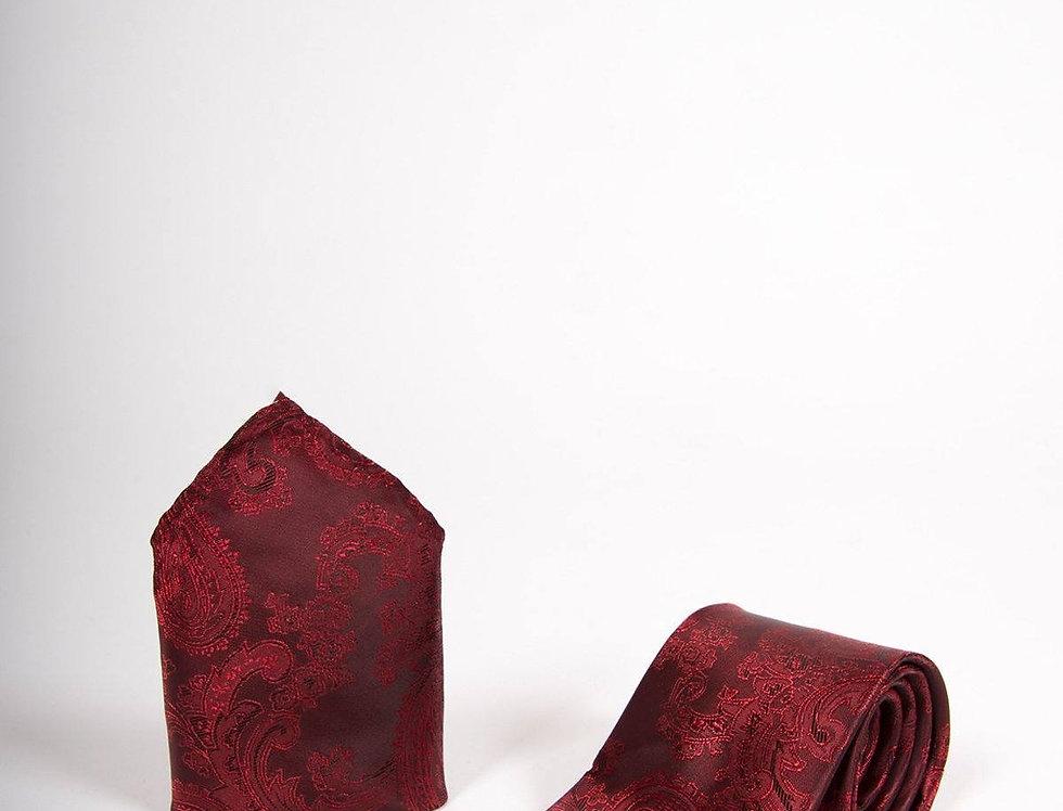 Marc Darcy - Wine Paisley Tie, Cufflink & Pocket Square Set