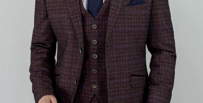 Cavani - Carly Tweed Check Three Piece Suit - Wine