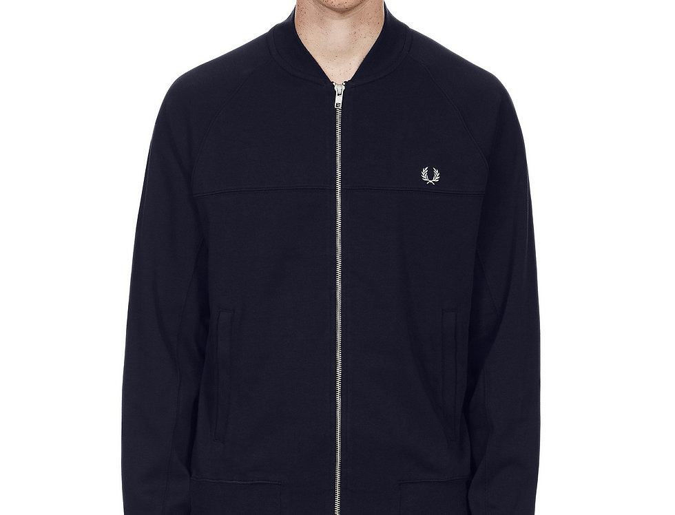 Fred Perry - Panelled  Bomber Neck Sweat - Navy