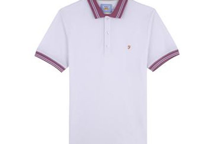 Farah - Stanton Slim Fit Tipped Polo Shirt - White