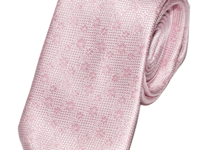 Lloyd Attree & Smith - Floral Poly Standard Tie - Light Pink
