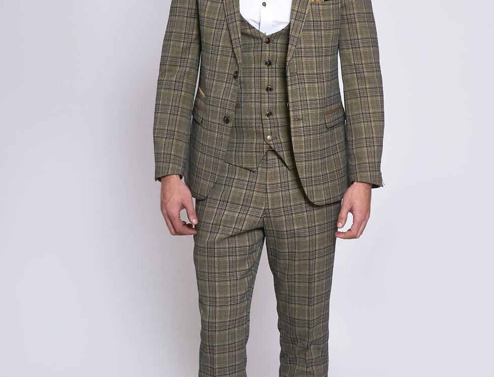 Marc Darcy - ENZO - Tan Tweed Check Three Piece Suit