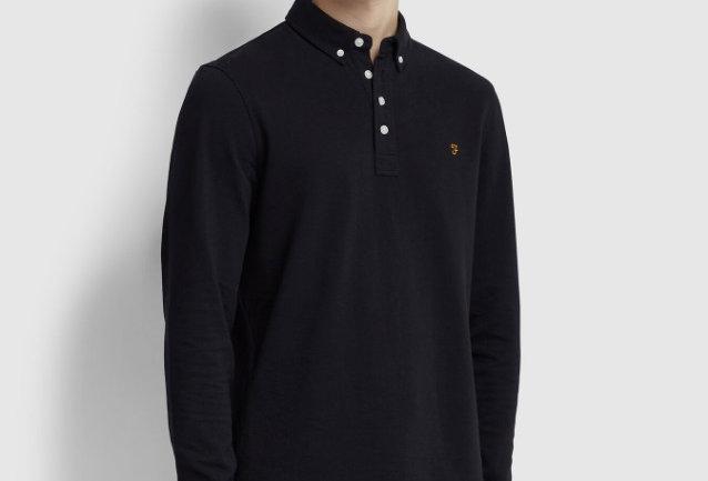 Farah - Ricky Long Sleeve Polo Shirt - Deep Black