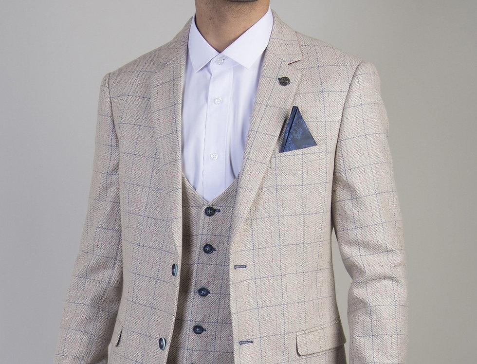 Marc Darcy - Harding - Cream Tweed Check Print Blazer