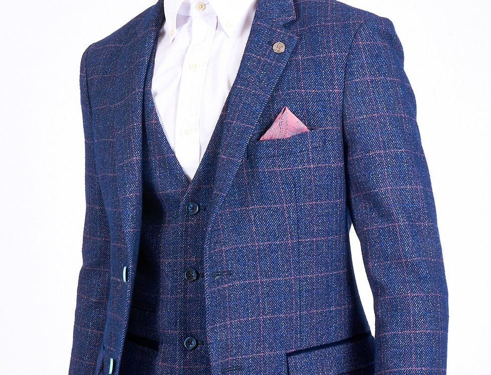 Marc Darcy - Harry - Indigo Tweed Check Blazer