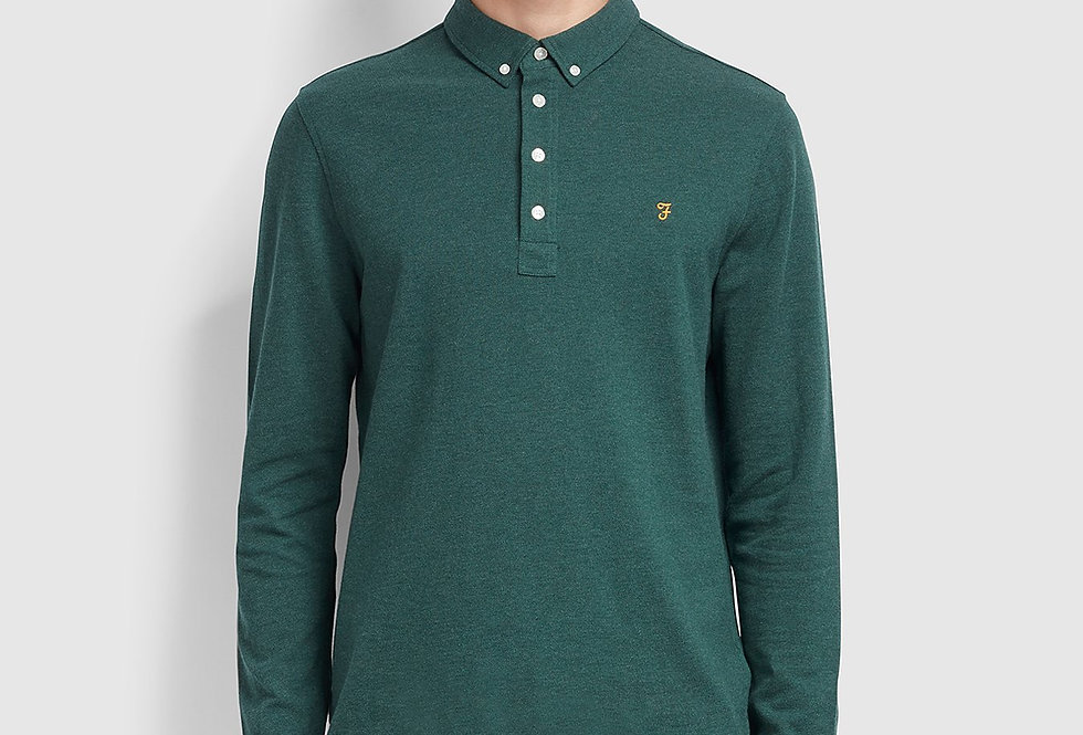 Farah - Ricky Long Sleeve Polo Shirt - Bright Emerald Marl