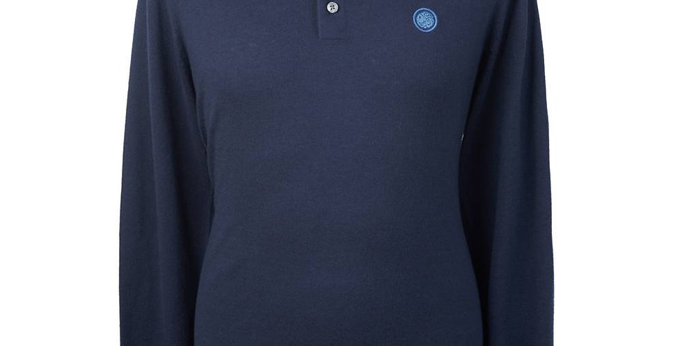 Pretty Green - Long Sleeve Tipped Knitted Polo Shirt - Navy