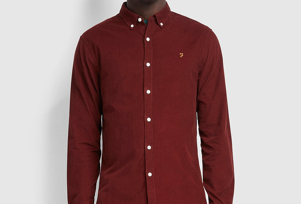 Farah - Fontella Slim Fit Cord Shirt - Farah Burgundy