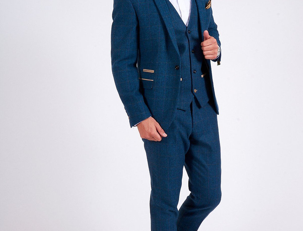 Marc Darcy - DION - Blue Tweed Check Three Piece Suit