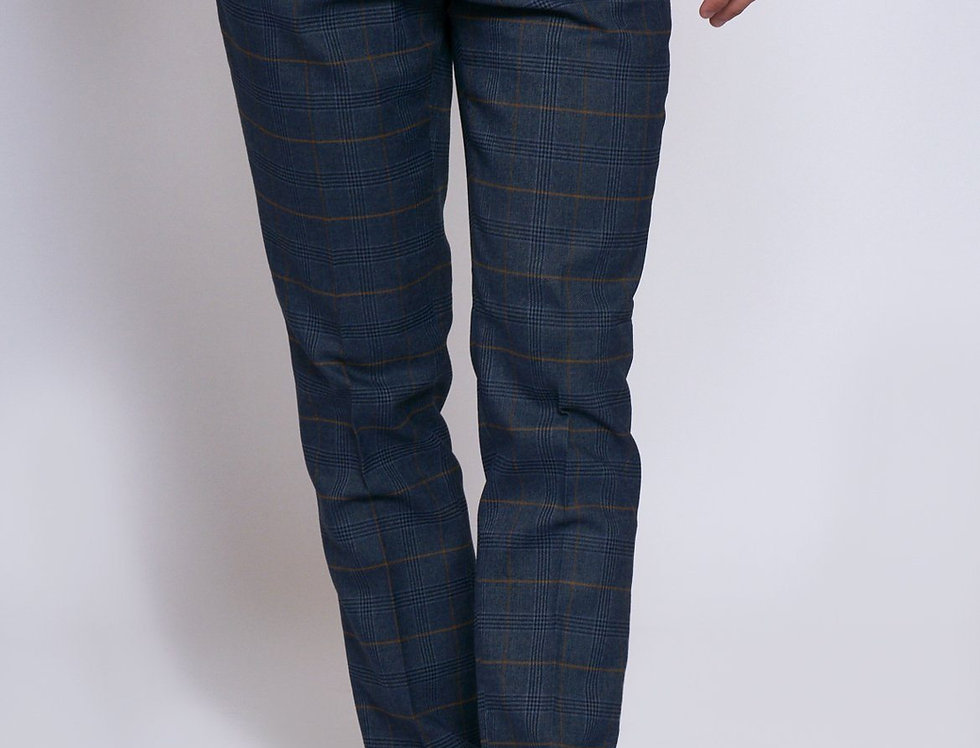 Marc Darcy - JENSON - Marine Navy Check Trousers