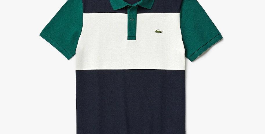 Lacoste Stretch Colourblock Polo Shirt - Navy Blue