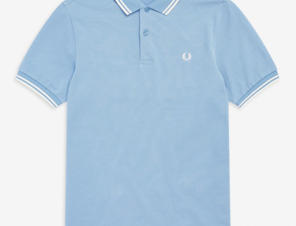 Fred Perry - Twin Tipped Polo - Sky / Snow White / Snow White