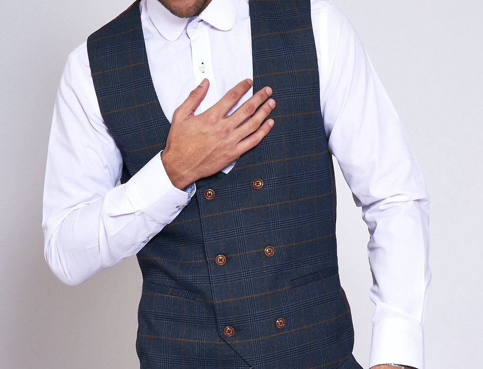 Marc Darcy - JENSON - Marine Navy Check Double Breasted Waistcoat
