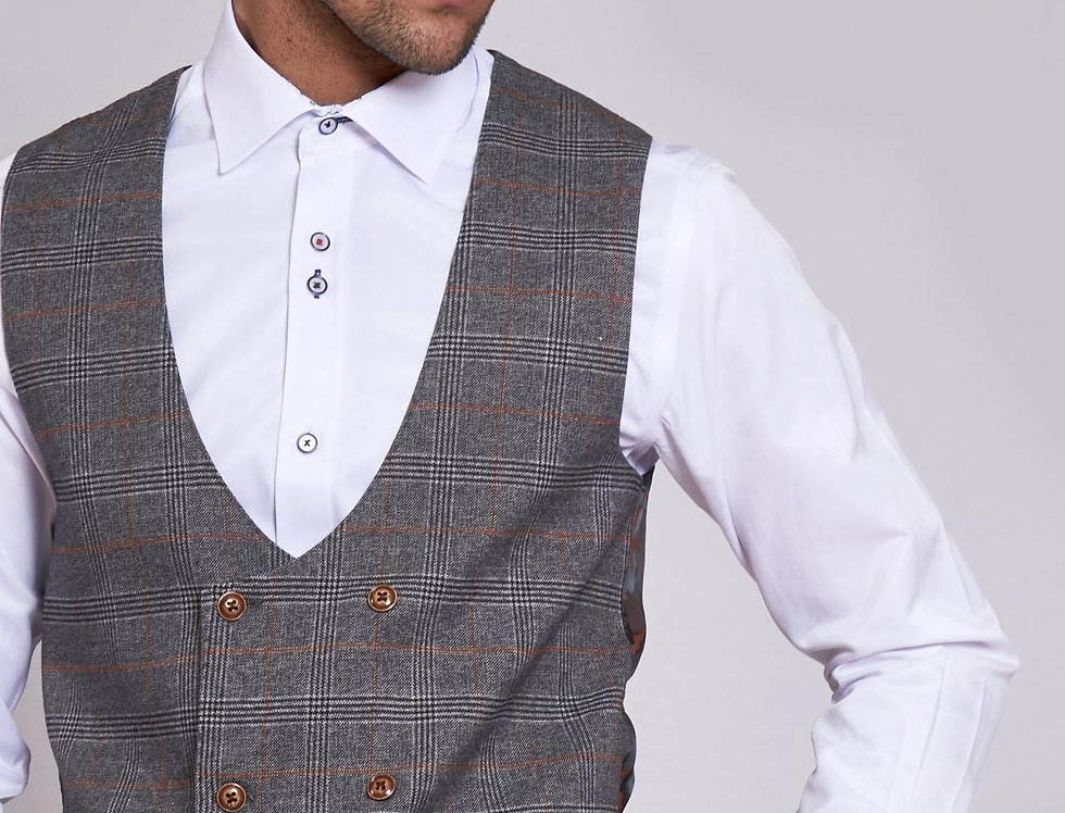 Marc Darcy - JENSON - Grey Check Double Breasted Waistcoat