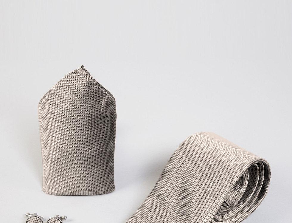 Marc Darcy - Tan Birdseye Tie, Cufflink & Pocket Square Set