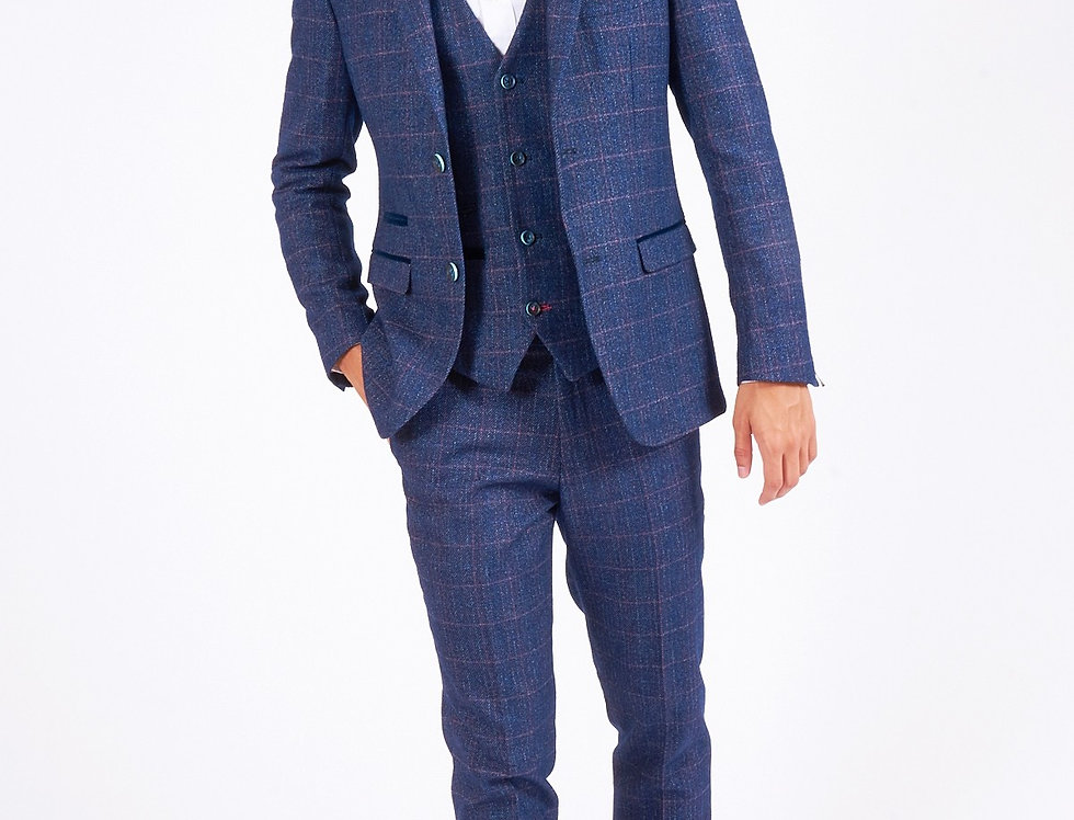 Marc Darcy - Harry - Indigo Tweed Suit With Single Breasted Waistcoat
