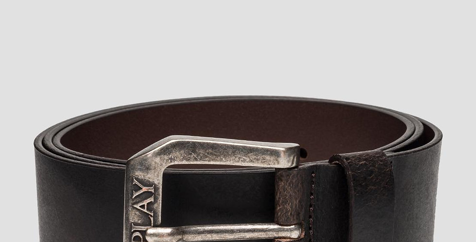 Replay - Leather Belt With Square Buckle - Black Brown