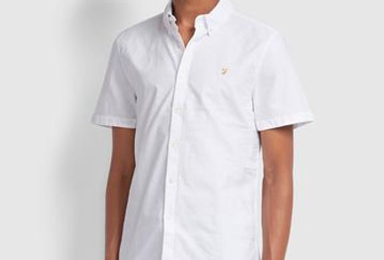 Farah - Brewer Slim Fit Short Sleeve Oxford Shirt - White