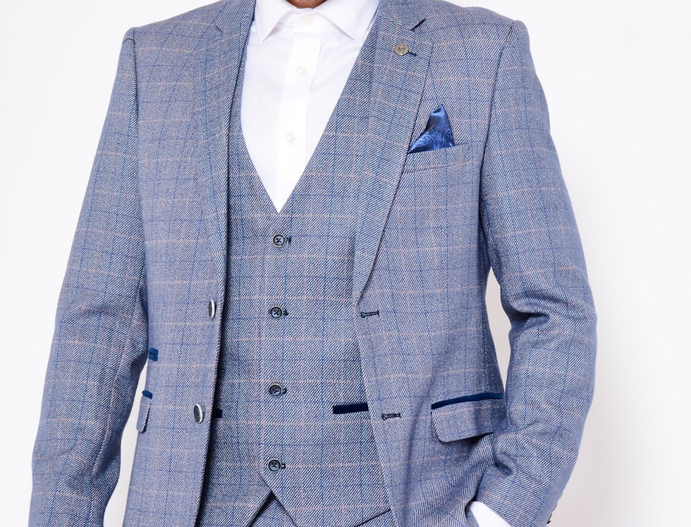 Marc Darcy - Harry - Blue Check Print Tweed Blazer