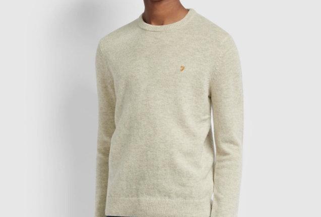 Farah - Rosecroft Lambswool Sweater - Linen