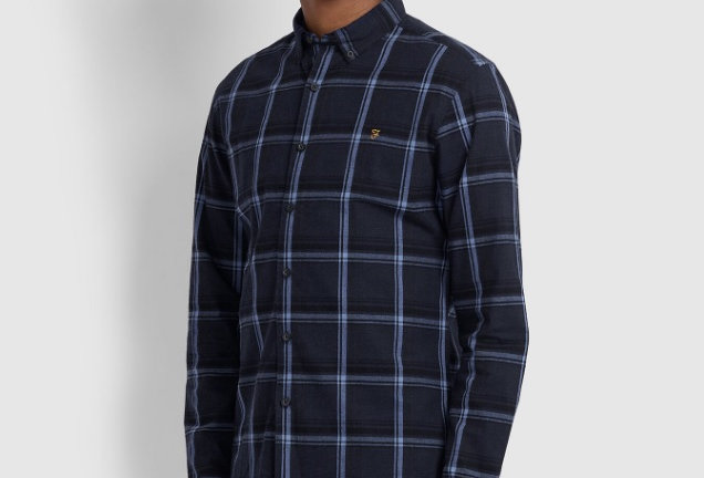 Farah - Steen Slim Fit Brushed Cotton Check Shirt - True Navy