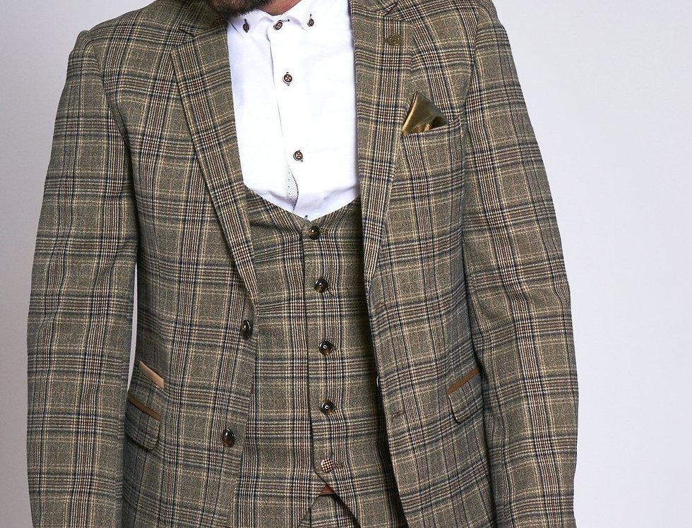 Marc Darcy - ENZO - Tan Tweed Check Blazer