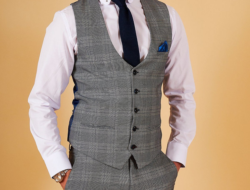 Marc Darcy - JERRY - Grey Check Single Breasted Waistcoat