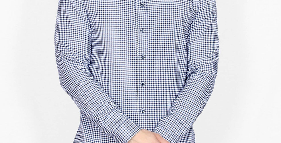 Bewley & Ritch - Long Sleeve Hatting Check Shirt - White