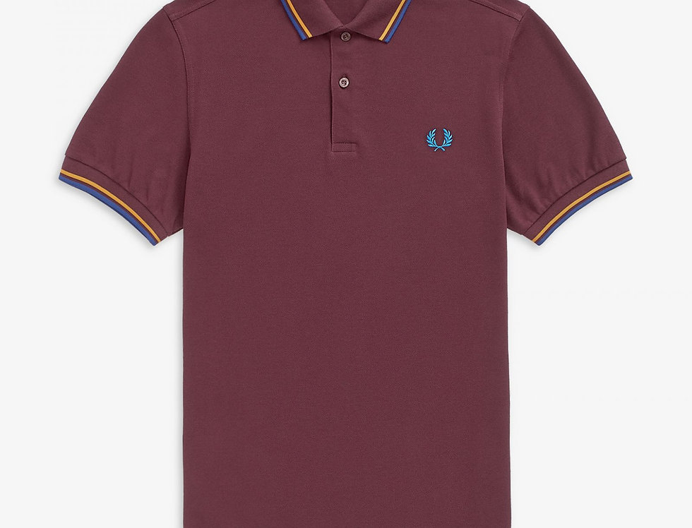 Fred Perry - Twin Tipped Polo - Mahogany/Amber/Nautical Blue