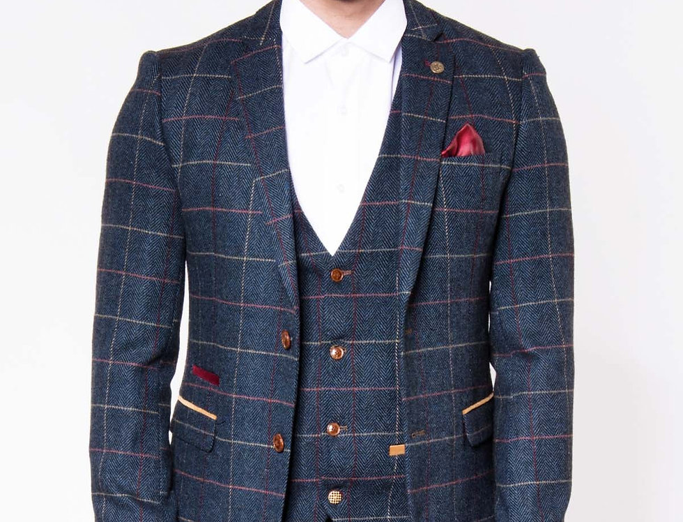 Marc Darcy - Eton Tweed Blazer - Navy